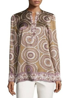 Lafayette 148 New York Dunham Long-Sleeve Medallion-Print Silk Blouse