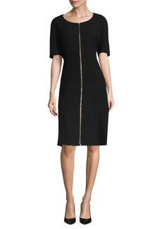 Lafayette 148 Eden Zip-Front Wool Dress