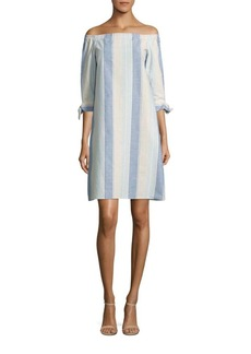 Lafayette 148 New York Elaina Striped Off-The-Shoulder Dress