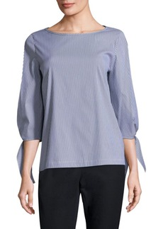 Lafayette 148 New York Elaina Tie-Sleeve Striped Top