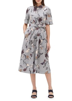 Lafayette 148 New York Eleni Artisan Bouquet Short-Sleeve Stretch Cotton Midi Dress