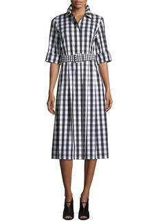 Lafayette 148 New York Eleni Belmont Check Shirting Dress w/Belt