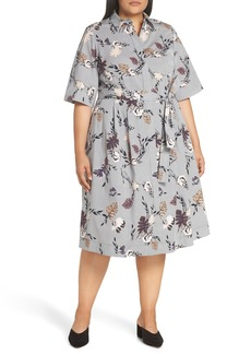 Lafayette 148 New York Eleni Floral Stripe Shirtdress (Plus Size)