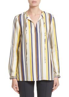 Lafayette 148 New York Eli Carnaby Stripe Silk Blouse