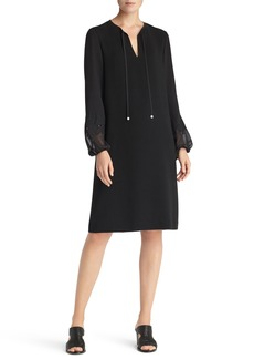 Lafayette 148 New York Eli Embroidered Cuff Chiffon Dress