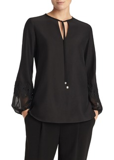 Lafayette 148 New York Eli Embroidered Cuff Silk Blouse