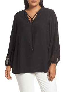 Lafayette 148 New York Eli Embroidered Cuff Silk Blouse (Plus Size)