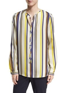 Lafayette 148 New York Eli Long-Sleeve Carnaby Stripe Silk Blouse