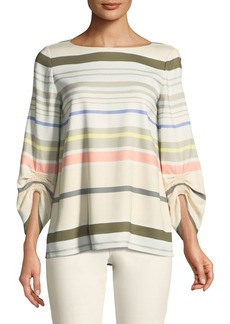 Lafayette 148 Elisio Mesa Stripe Ruched-Sleeve Blouse