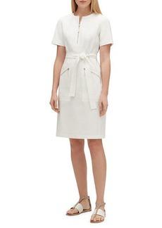 Lafayette 148 New York Elizabella Zip-Front Short-Sleeve Fundamental Bi-Stretch Dress