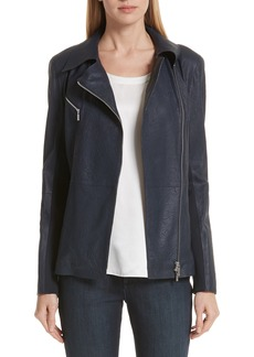 Lafayette 148 New York Elwood Leather & Knit Moto Jacket