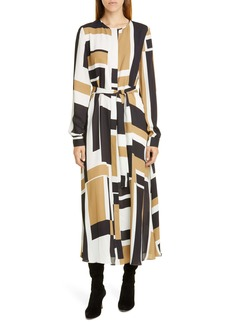Lafayette 148 New York Emberley Graphic Block Long Sleeve Midi Shirtdress