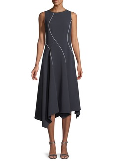 Lafayette 148 New York Emberlin Finesse Crepe Dress with Contrast Stitching