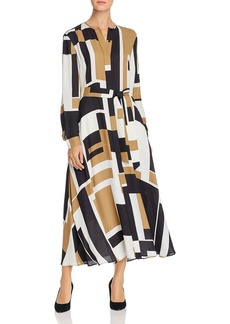 Lafayette 148 New York Emberly Geo-Print Maxi Shirt Dress