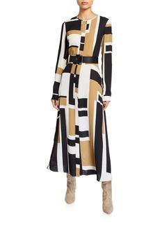 Lafayette 148 New York Emberly Graphic Block Long-Sleeve Drape Cloth Midi Dress