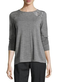 Lafayette 148 New York Embroidered Bateau-Neck Sweater