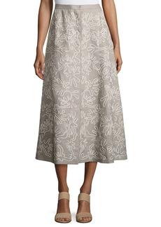 Lafayette 148 New York Embroidered Linen Midi Skirt
