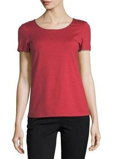 Lafayette 148 New York Embroidered-Trim Tee