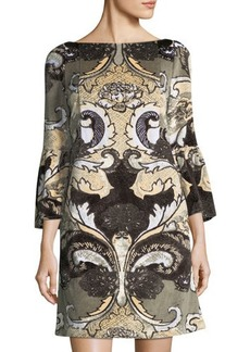 Lafayette 148 New York Embroidered Velvet Bell-Sleeve Dress