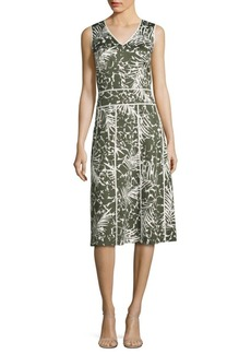 Lafayette 148 New York Emlia Palm-Print Dress