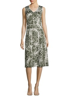 Lafayette 148 Emlia Palm-Print Dress