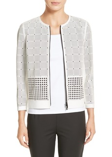 Lafayette 148 New York Emma Laser Cut Leather Jacket