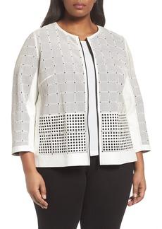 Lafayette 148 New York Emma Laser Cut Leather Jacket (Plus Size)
