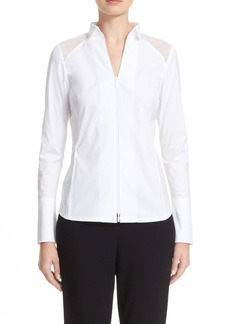 Lafayette 148 New York Esme Organza Inset Stretch Cotton Blend Blouse