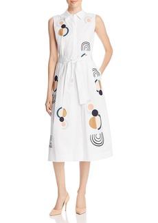 Lafayette 148 New York Estelle Embroidered Sleeveless Shirt Dress