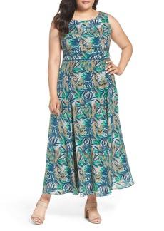Lafayette 148 New York Estrella Palm Print Maxi Dress (Plus Size)