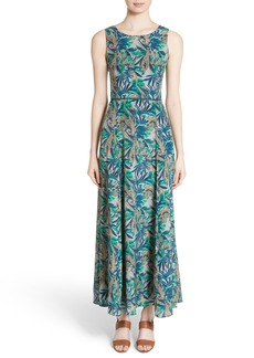 Lafayette 148 New York Estrella Santa Clara Palm Print Maxi Dress
