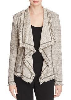Lafayette 148 New York Eugena Draped Fringe Tweed Jacket