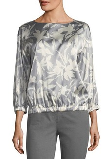 Lafayette 148 New York Evie Printed Charmeuse Blouse