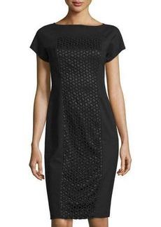 Lafayette 148 New York Eyelet-Paneled Short-Sleeve Dress