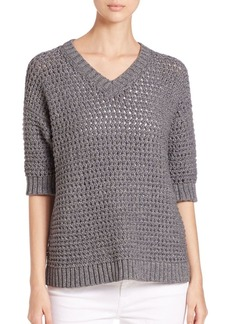 Lafayette 148 New York Eyelet-Stitch Cotton Sweater