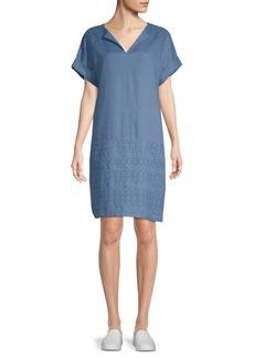 Lafayette 148 New York Fabian Embroidered Linen Dress