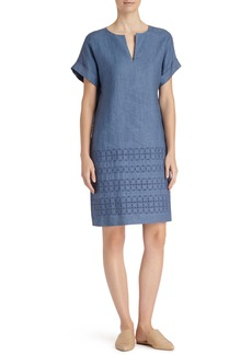 Lafayette 148 New York Fabian Embroidered Linen Dress