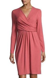 Lafayette 148 New York Faux-Wrap Long-Sleeve Dress