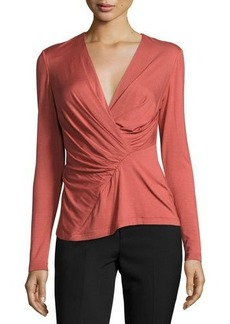 Lafayette 148 New York Faux-Wrap Pleated Top