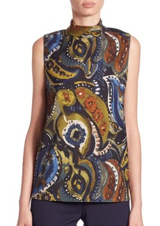 Lafayette 148 New York Fernanda Painterly Paisley-Print Blouse