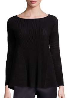 Lafayette 148 New York Fine Gauge Merino Ribbed Peplum Sweater
