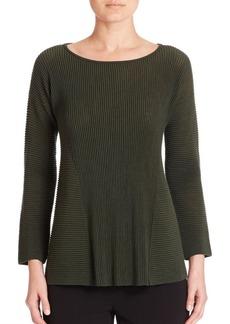 Lafayette 148 New York Fine Gauge Merino Ribbed Peplum Sweater