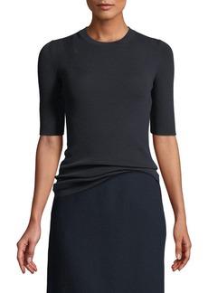 Lafayette 148 New York Fine Gauge Merino Skinny Rib Short-Sleeve Sweater