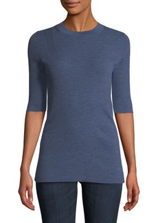 Lafayette 148 New York Fine Gauge Merino Skinny Rib Short-Sleeve Sweater