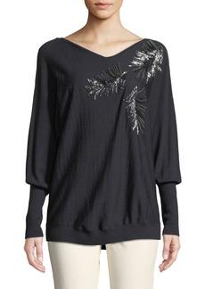 Lafayette 148 New York Fine-Gauge Merino-Wool Sequin Embellished Dolman Pullover