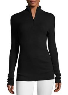 Fine-Gauge Merino Wool Zip-Neck Sweater