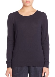 Lafayette 148 New York Fine Gauge Wool Jersey Stitch Crewneck Sweater