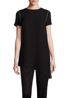Lafayette 148 New York Finesse Asymmetrical Crepe Blouse