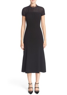 Lafayette 148 New York 'Finley' Finesse Crepe Dress with Lace Combo