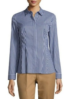 Lafayette 148 New York Fletcher Check Blouse